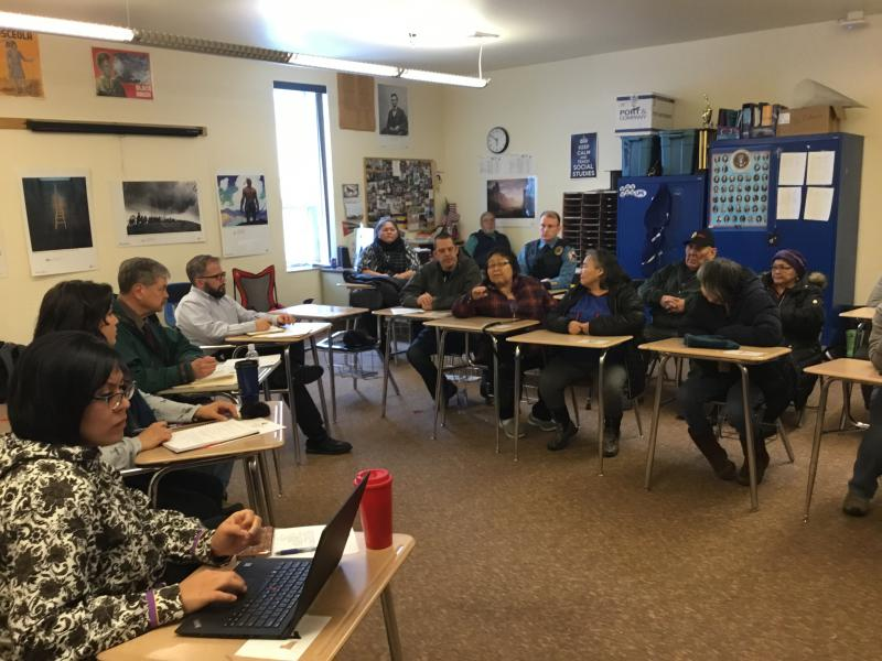 Ruth Evon speaks at a Listening Session at Bethel Regional High School on March 17, 2018. The meeting was organized by Rep. Tiffany Zulkosky in response to resolutions issued by Napaskiak and Marshall.