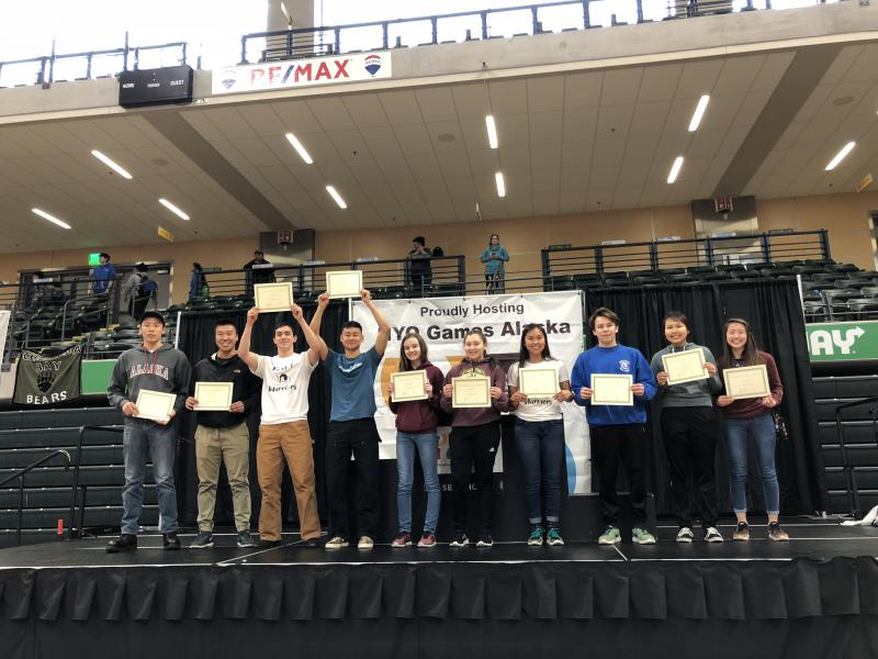 Bethel Regional High School with the second highest team GPA at the state Native Youth Olympics held by Cook Inlet Tribal Council on April 28, 2018.