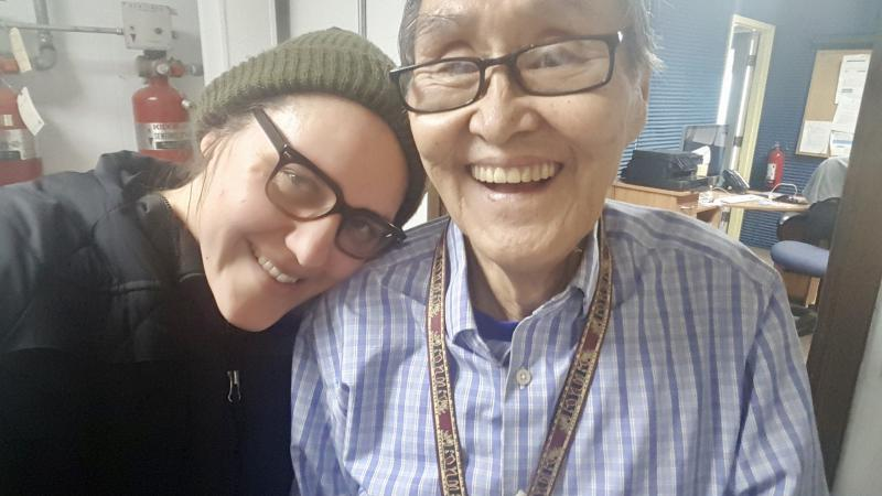 KYUK Reporter Christine Trudeau [left] with John Active [right], March 20, 2018.