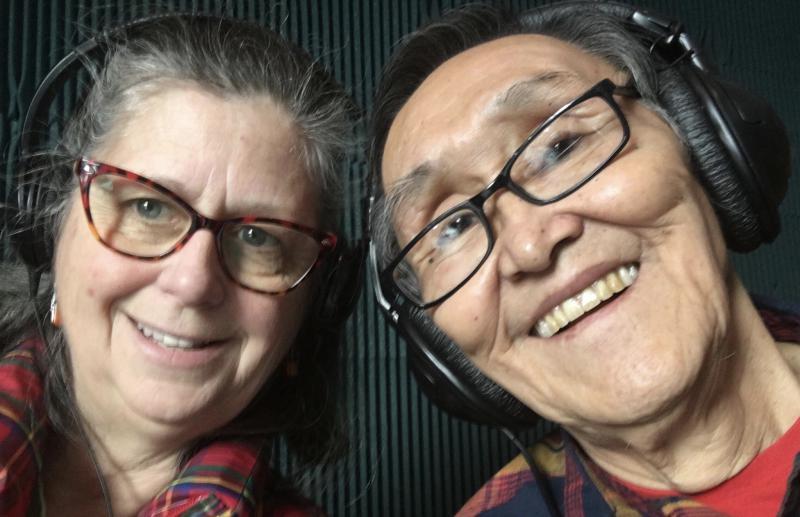 KYUK's On Air Host for Talkline Diane McEachern [left] and John Active [right] on March 30, 2018.