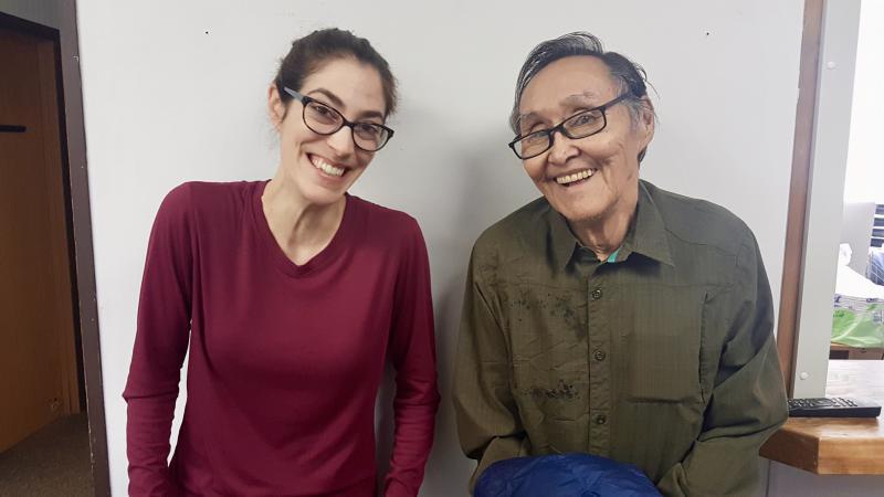 KYUK Reporter Teresa Cotsirilos [left] with John Active [right].