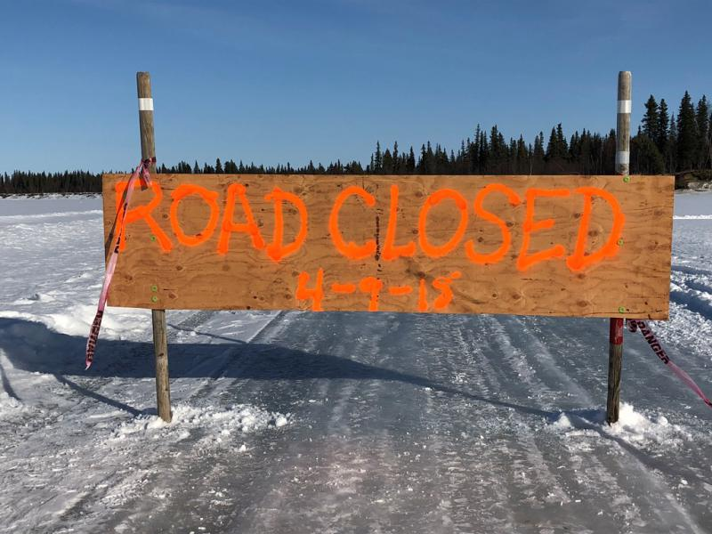 """Those traveling the ice road need to continue to take caution. According to an update by Bethel Search and Rescue's Mark Leary on Monday, """"the ice road has been closed at Coffee's Bend, 10 miles below Lower Kalskag."""" Picture taken Monday, April 9, 2018."""