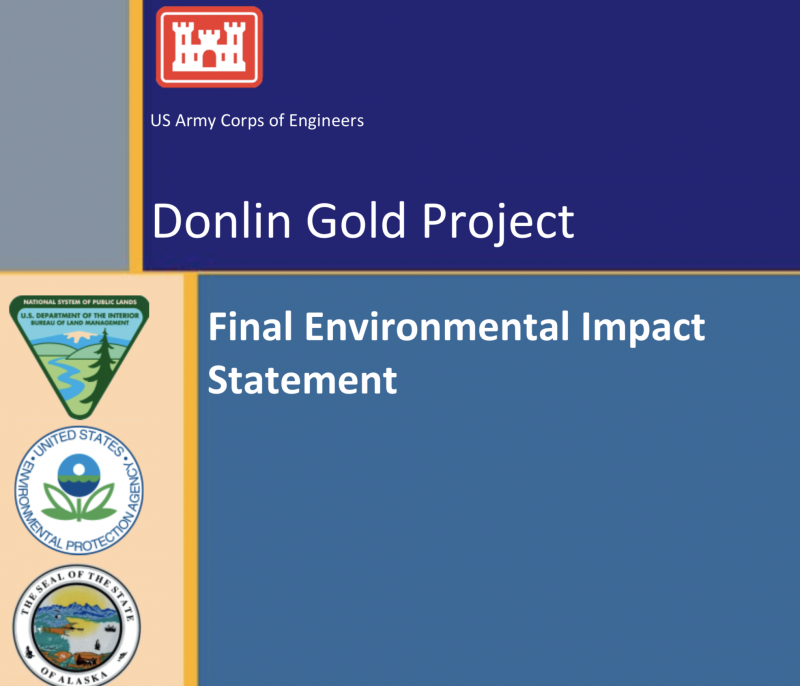 Screenshot of the cover page of the Donlin Gold final environmental impact statement. The U.S. Army Corps of Engineers published the document on April 27, 2018 and the public has 30 days to submit comments.