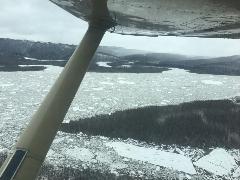 Jumbled ice flows past Aniak on May 1, 2018.
