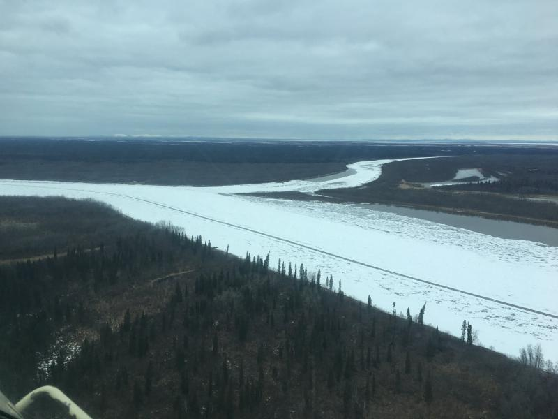 The Kuskokwim River downstream of Kalskag on May 2, 2018. Kalskag was placed under a flood watch by the National Weather Service on Wednesday afternoon after the ice began to shift.