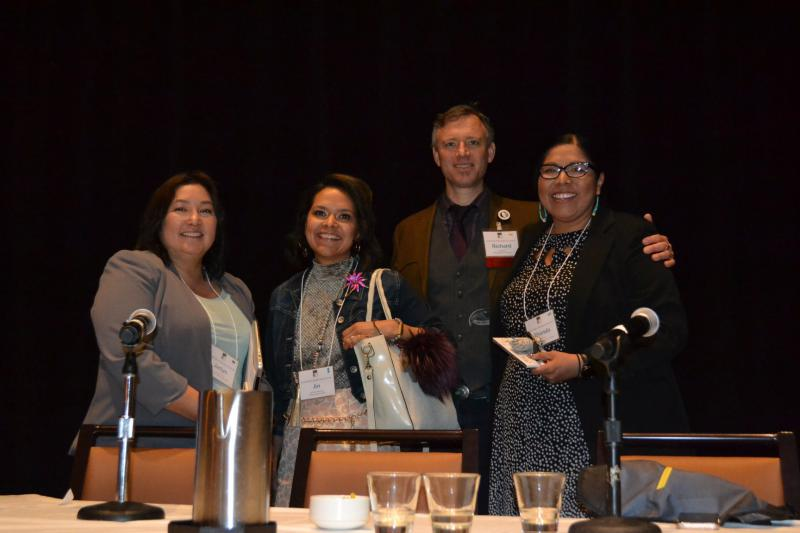 Jaclyn Sallee [left], CEO of the Koahnic Broadcast Corporation after presenting with Antonia Gonzalez [left center], on the 'Young Native Storytellers: Mentoring & Encouraging Youth Reporters. Also pictured Native Public Media's Richard Davis [right cente