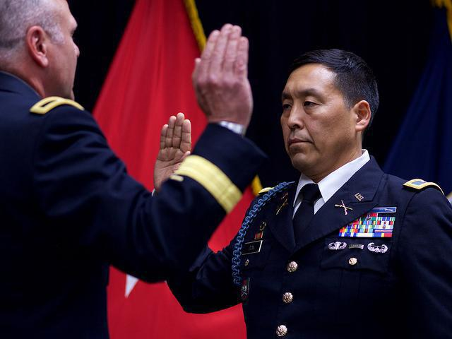 Alaska Army National Guard Col. Wayne Don pledges the Oath of Office after being promoted to full colonel on July 14, 2017. In a recent filing, Don's attorneys describe the lawsuit against him as frivolous.