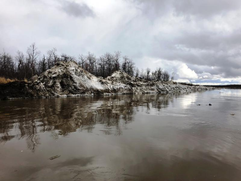 Iftikum's fish camp, popular area for ice jams, 11 miles below Lower Kalskag, AK. Photo taken on May 15, 2018.