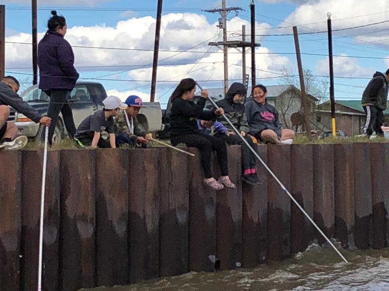 Bethel children having fun dipping for smelts. Photo taken on May 23, 2018.