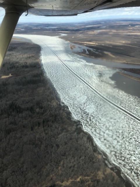 Old ice road below Akiak, AK photo taken on May 3, 2018.