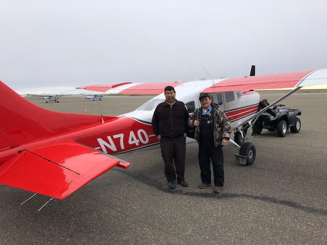 U.S. Fish & Wildlife Service pilot Robert Sundown and Peter Atchak. Photo May 8, 2018.