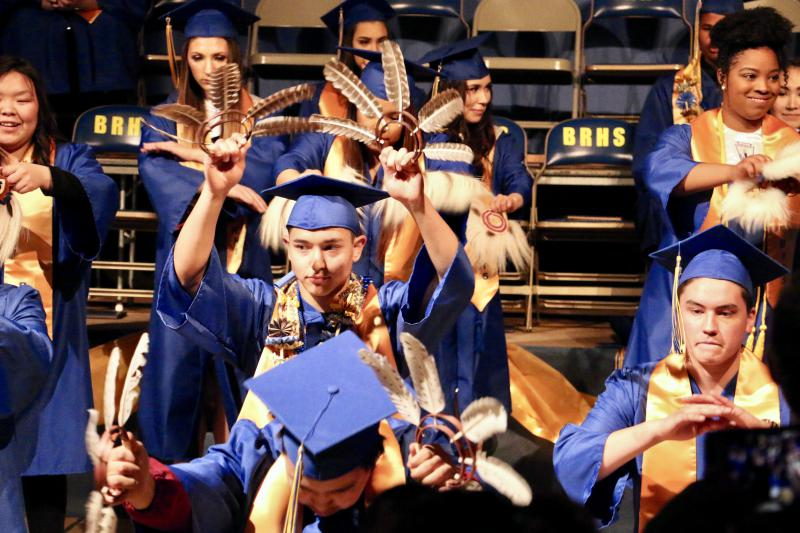 The class of 2018 graduated from Bethel Regional High School on Friday and said goodbye to outgoing Site Administrator Ed Pekar and math teacher David Cronk. After receiving their diplomas,  they performed one last Yuraq together.