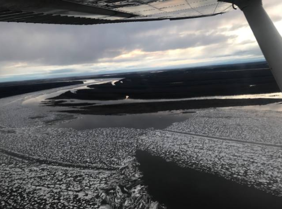 A stretch of the Kuskokwim River between Kwethluk and Akiak, posted on May 4, 2018. Breakup is unfolding more slowly this year due to milder temperatures.