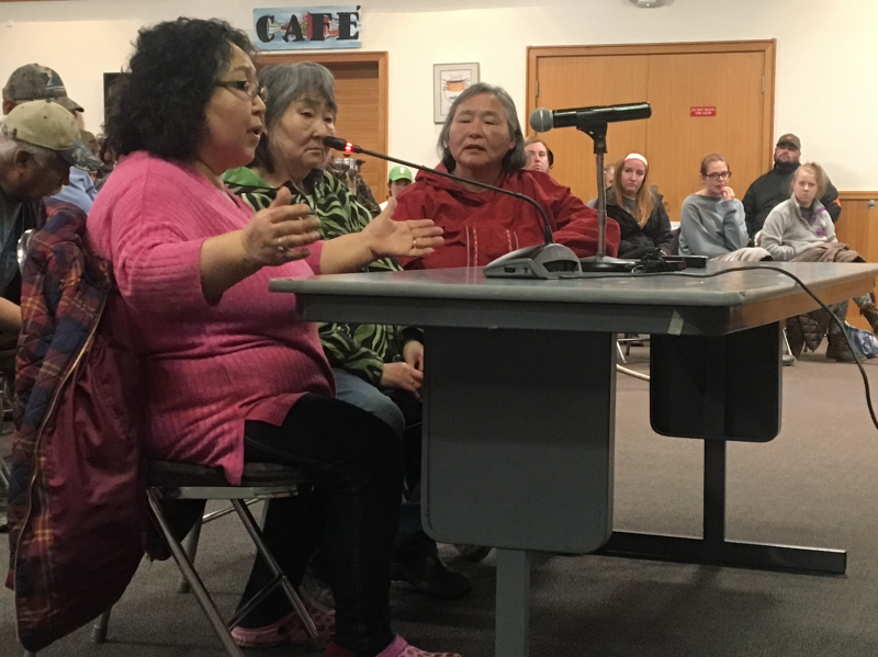 Ruth Evon and other Yukon-Kuskokwim Delta elders speak at the Alcoholic Beverage Control Board meeting in the Bethel Cultural Center on May 22, 2018.