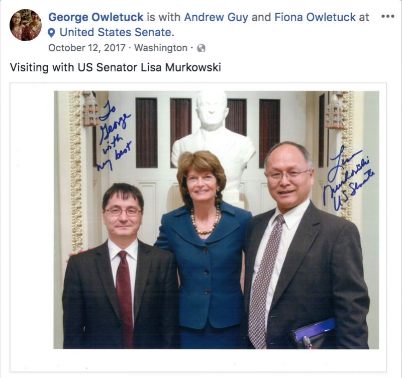 Owletuck and Guy pose with U.S. Sen. Lisa Murkowski on a trip to Washington D.C. in October 2017. This trip occurred over a month after Owletuck was accused of sexual harassment.