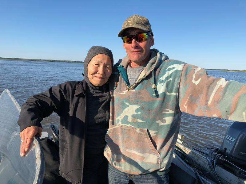 Delores Jimmy and Peter Hinz from Napakiak, AK loved spending time together fishing on June 12, 2018.