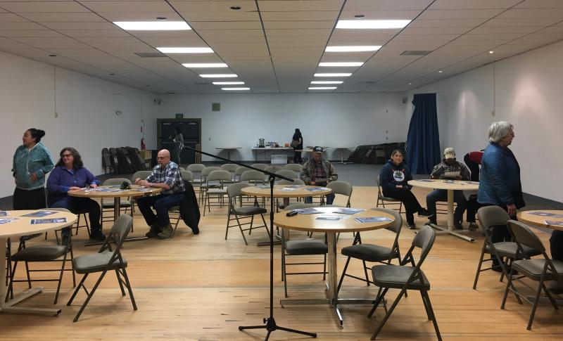 People started trickling into a meeting May 31, 2018 to voice concerns about the final Environmental Impact Statement from the Army Corps of Engineers for the proposed Donlin gold mine.