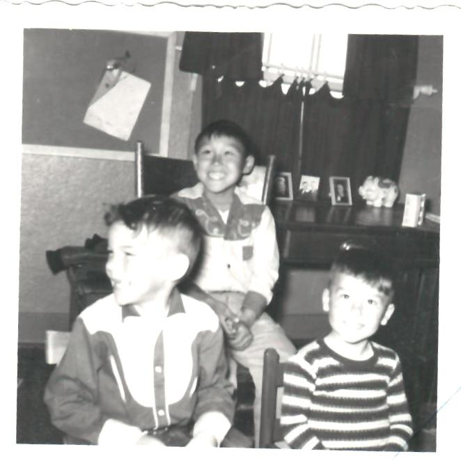 John Active in his spoiled brat cowboy outfit with the Hinkleman boys at the Moravian Children's Home in late 1950's or early 1960's.