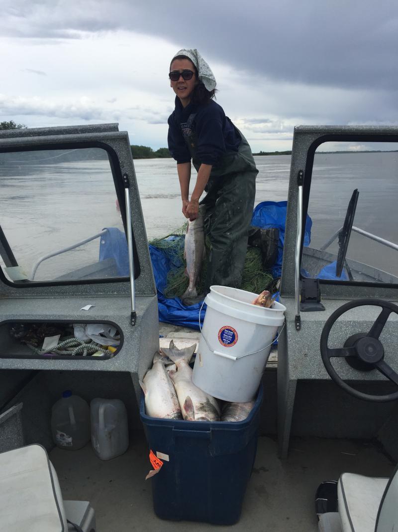 Mary Peltola fishing for Reds on June 12, 2018.