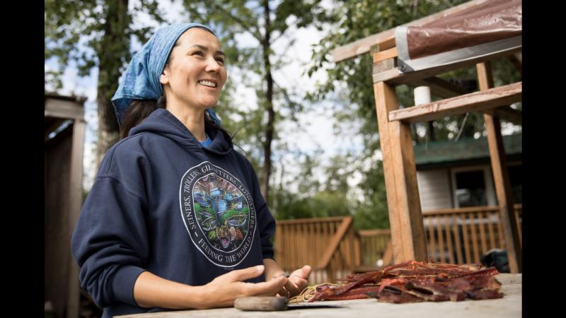 Mary Peltola enjoys putting her fish away.