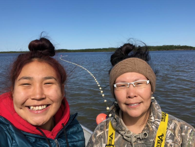 Sisters Nyla Jenkins and Petra Harpak had a fun time together setting out the drift net on June 12, 2018.