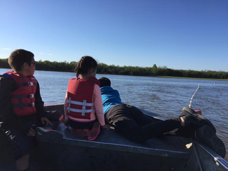 Peter, Nadia and Stephen Joekay enjoying their time fishing on the Kuskokwim River on June 12, 2018.