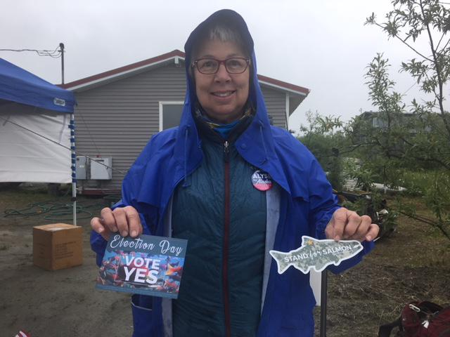 Bethel resident Beverly Hoffman is one of several people informing the community about the Stand For Salmon initiative.