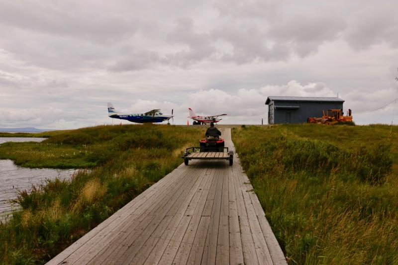 Ravn Alaska is currently not flying into the village of Newtok until contractors hired by the Department of Transportation finish resurfacing the runway. Photo taken August 10, 2017.