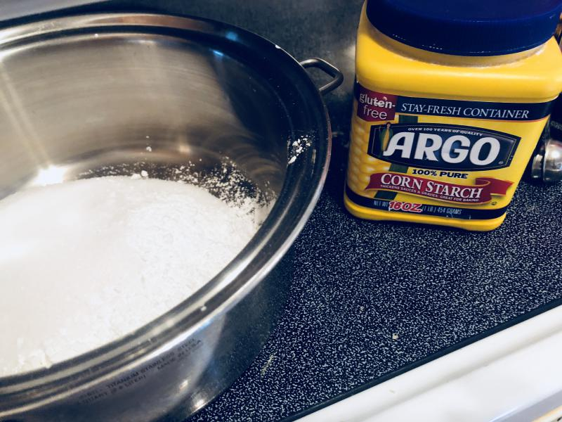 Add 1 cup of sugar and 3 tablespoons of corn starch.