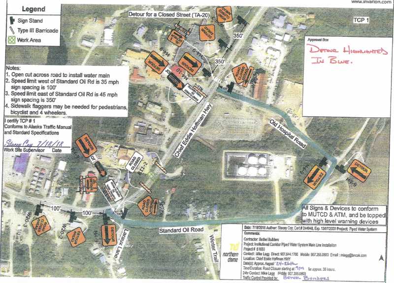 A small stretch of Chief Eddie Hoffman Highway will be closed Friday, August 24 through Monday, August 27 at 4 a.m. The map indicates the detours that will be used to go around the closed portions of the highway.
