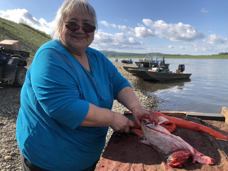 Evelyn Chamberlain cutting fish at the Kuskokwim River on July 5, 2018.