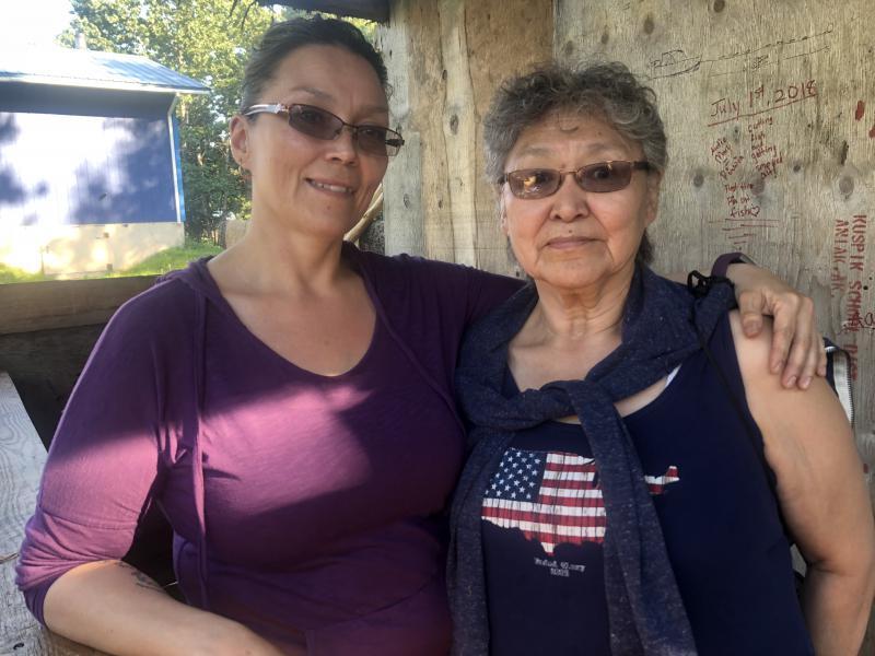 L-R: Dorris and Anna Allain on July 5, 2018 in Aniak.