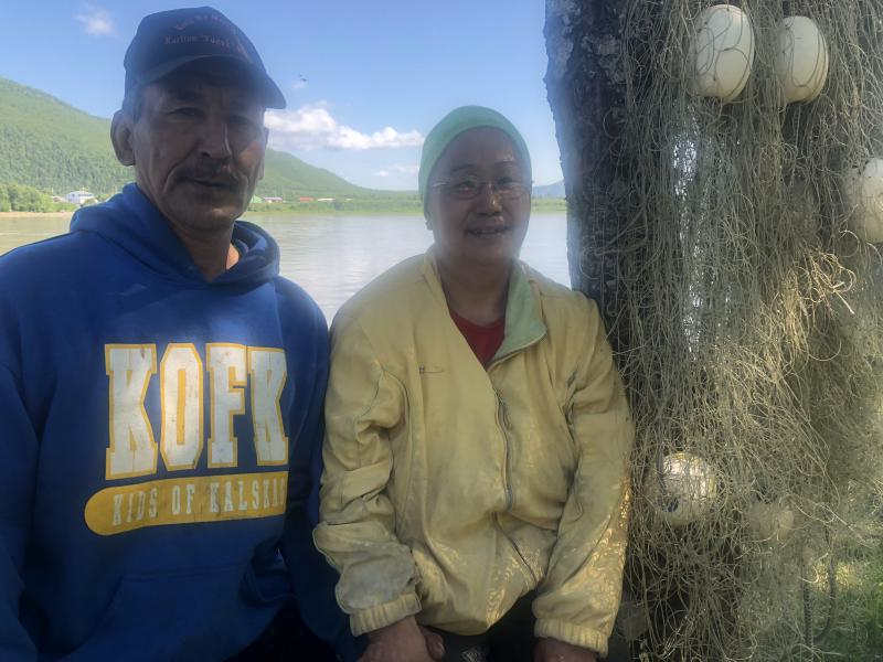 L-R: Stanley and Bolossa Michaelson in Upper Kalskag at their fish camp on July 6, 2018.