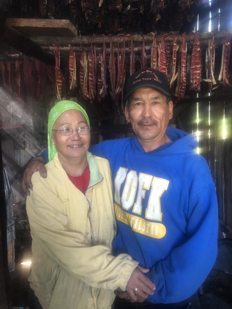 L-R: Bolossa and Stanley Michaelson of Kalskag in their smoke house.