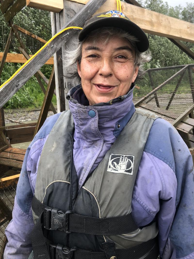 Margaret Bobby at the Sleetmute fish wheel.