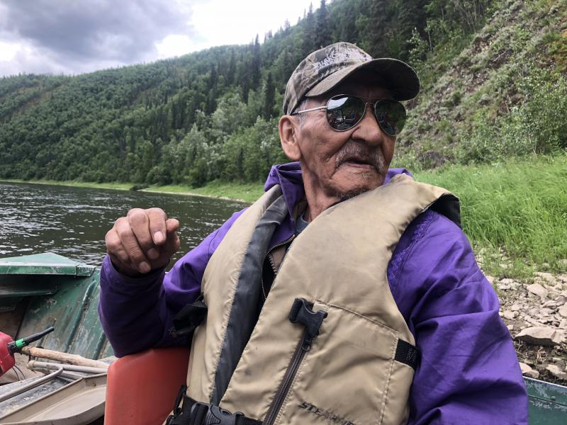 """80-year old, Mishka """"Johnny Boy"""" Andreanoff inside the George River."""