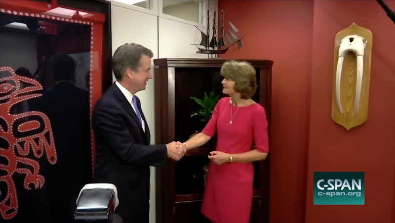 C-SPAN captured U.S. Supreme Court nominee Brett Kavanaugh meeting with Sen. Lisa Murkowski at her office in Washington, D.C., on Aug. 23, 2018. After a photo op, they continued meeting behind closed doors.