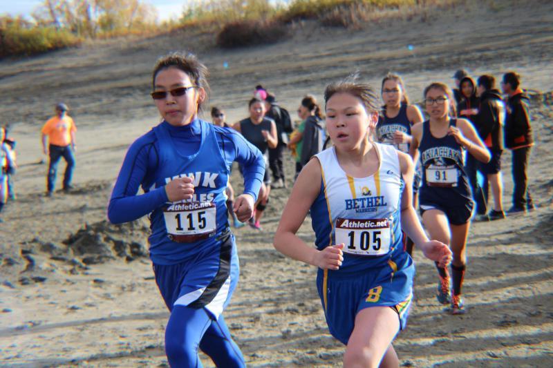 Twenty-one high school girls from schools across the Yukon-Kuskokwim Delta compete in Bethel's brutal cross-country Pit Race on September 16, 2017.