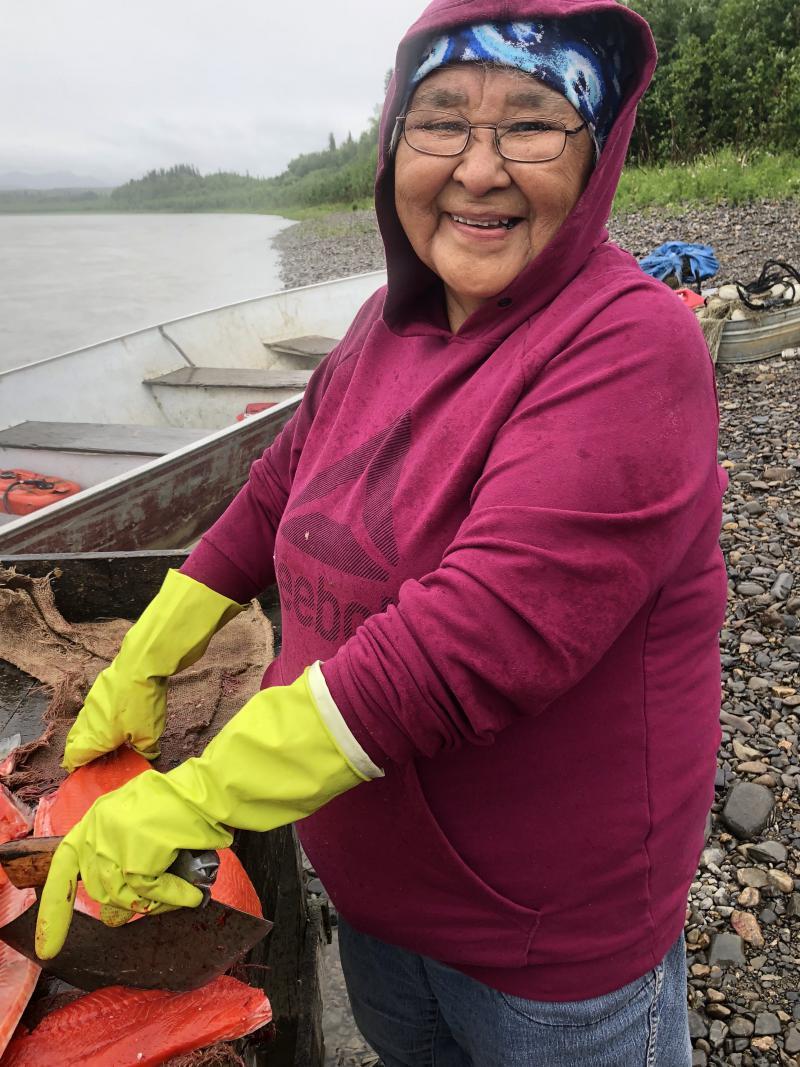Nas Avakumoff cutting fish near Napaimute.