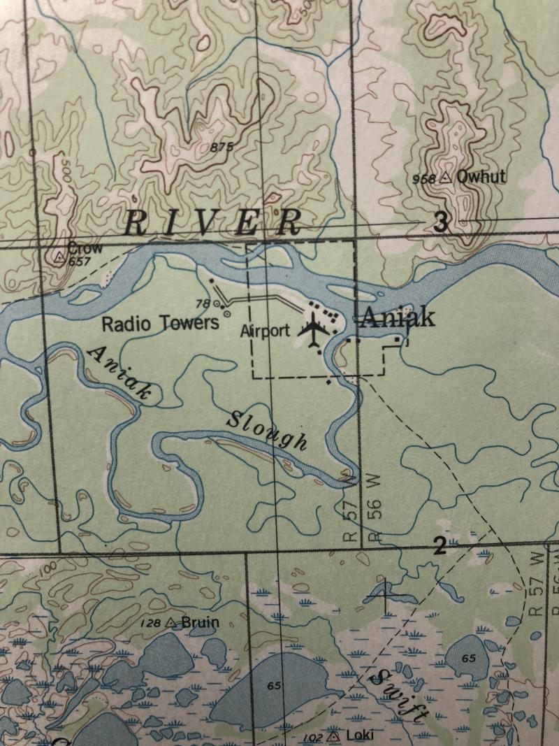 Map of Aniak and the Kuskokwim River.