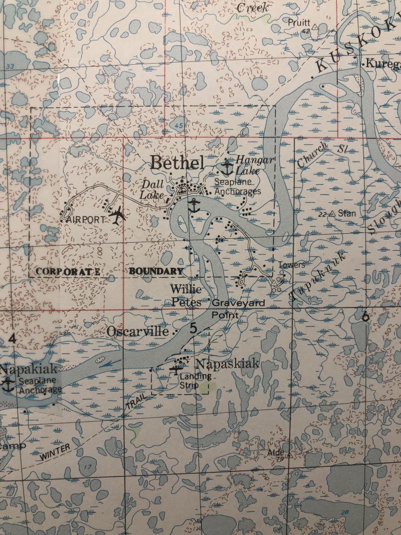 Map of Bethel and the Kuskokwim Delta.