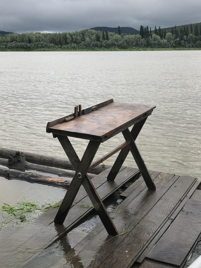 Margaret Bobby's cutting table right on the Kuskokwim River at Midway.