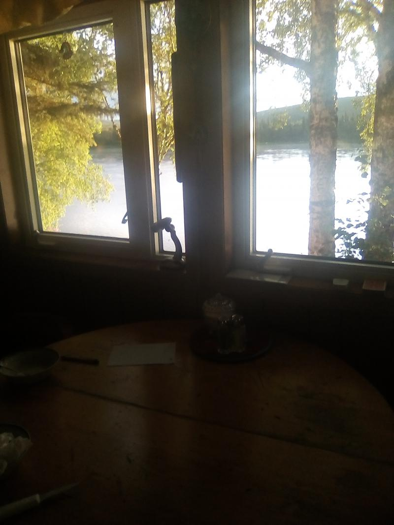 Margaret Bobby's view of the Kuskokwim River from her kitchen table in Midway.