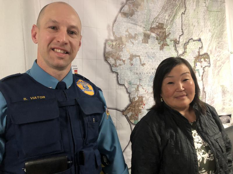 Trooper Brandon Viator (left) and Elena Aluskak (right) on October 2, 2018.