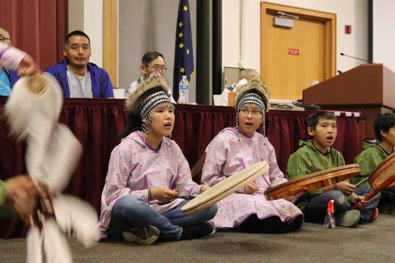 Children perform for the opening ceremonies at the annual AVCP conference on October 2, 2018.