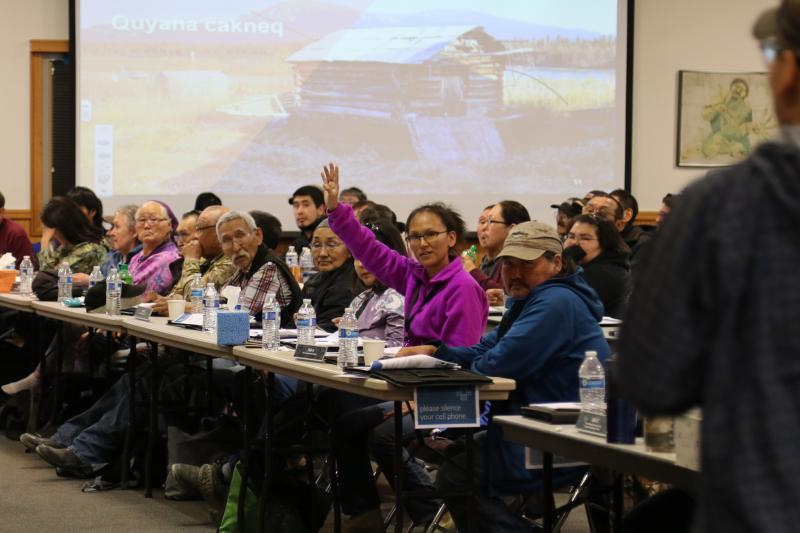 Tanya Epchook from Kwethluk asking questions to the internal committees at the annual AVCP conference held at the Bethel Cultural Center on October 2, 2018.