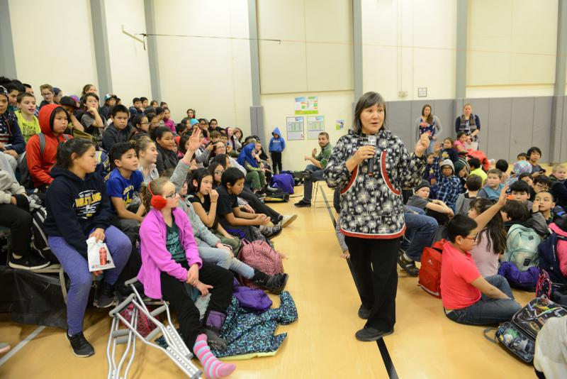 Lt. Governor Valerie Davidson speaking at an assembly at Gladys Jung Elementary in Bethel on Thursday, November 15, 2018.