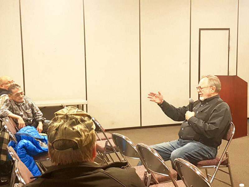 Representative Don Young (right) visited and took questions from Bethel based organizations on Friday, Nov. 2, 2018. The organizations included the Association of Village Council Presidents, Yuut Elitnaurviat, the Yukon Kuskokwim Correctional Center, and