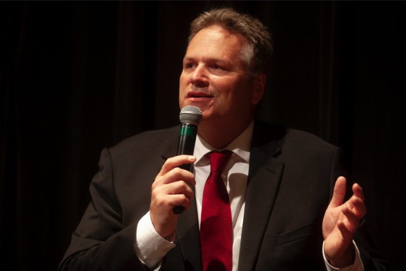 Former state senator and gubernatorial candidate Mike Dunleavy talks to the audience during a Juneau Chamber of Commerce forum on Thursday, September 6, 2018, in Juneau, Alaska.