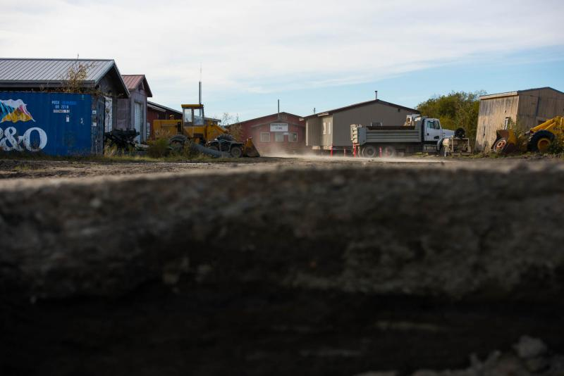 Napakiak's village center sits just a few hundred feet from the rapidly eroding Kuskokwim riverbank on September 27, 2018. Napakiak is eroding away three times faster than it was just 10 years ago.